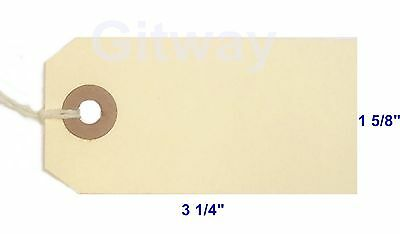 """1000- 3 1/4"""" x 1 5/8"""" Size 2 Manila Inventory Shipping Hang Tags with String"""