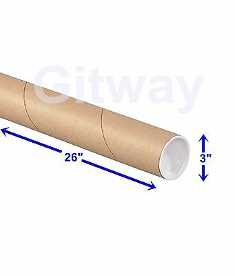 "3"" x 26"" Cardboard Poster Shipping Mailing Mail Packing Postal Tube 24 Box Tubes"