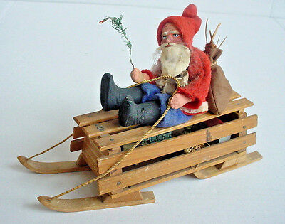 Antique German Santa on Sled Candy Container Marked Germany