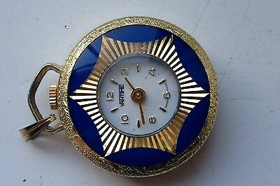 VINTAGE 35mm VANTIME SWISS MADE ORNATE GOLD TONE WORKING FOB WATCH