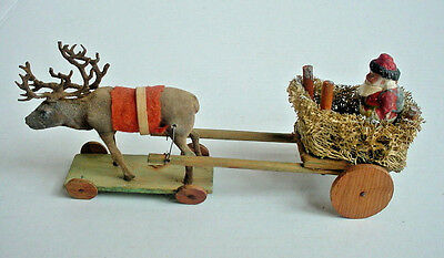 Small Antique Germany Santa, Sleigh & Reindeer Pull Toy