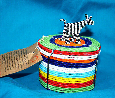 """Traditional S. African Beaded Wedding Box with Zebra top 3x2"""" FREE SHIPPING #16"""