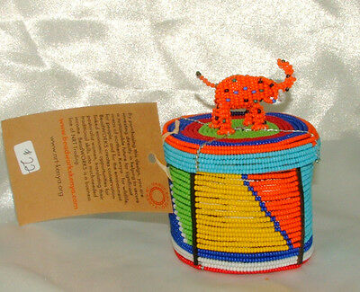 """Traditional S. African Beaded Wedding Box w Elephant top 3x2"""" FREE SHIPPING #22"""