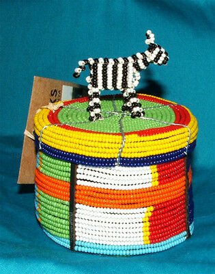 """Traditional S. African Beaded Wedding Box Zebra topper 3x2"""" FREE SHIPPING #17"""