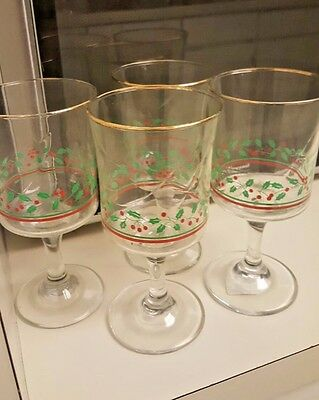 4 Arbys Christmas Holly Wine Glasses 1985 Christmas Collection Gold Rim