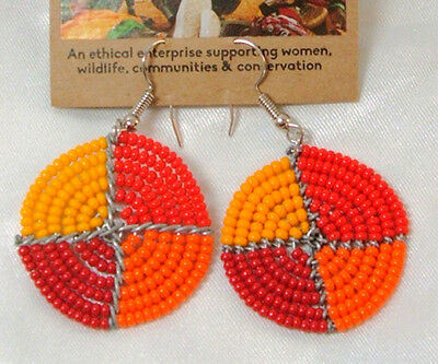 "Traditional South African Beaded Disk Earrings 1.25"" FREE SHIPPING D20"