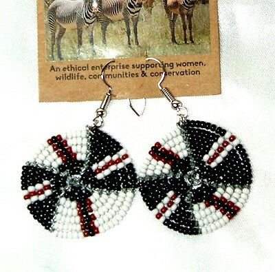 """Traditional South African Beaded Disk Earrings 1.25"""" FREE SHIPPING D22"""