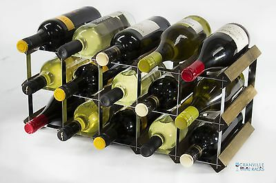 Classic 15 bottle walnut stained wood and metal wine rack ready to use