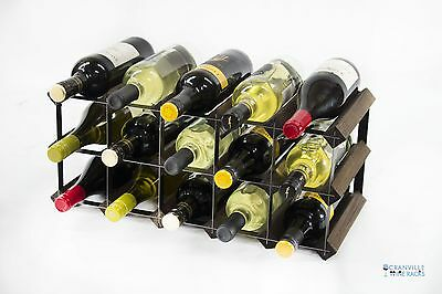 Classic 15 bottle dark oak stained wood and black metal wine rack ready to use
