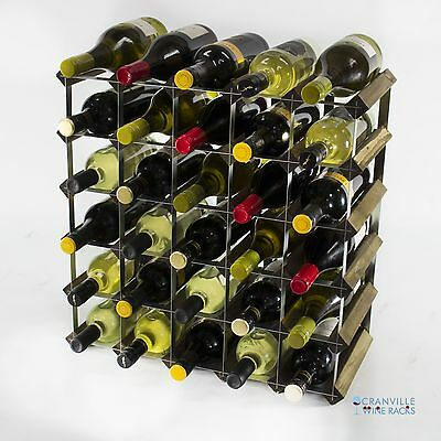 Classic 30 bottle walnut stained wood and metal wine rack ready to use