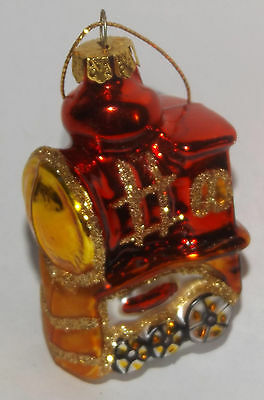 """Glass Glitter Red Gold Train Engine Locomotive Christmas Holiday Ornament 3"""""""