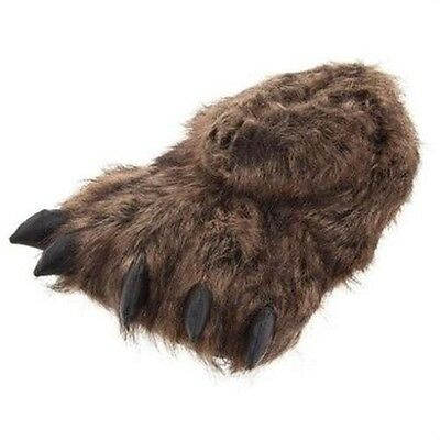 Norty Brown Grizzly Bear Animal Claw & Paw Slippers -(S) - Free Shipping