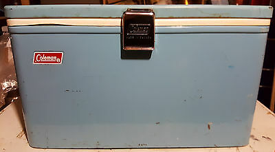 Coleman Canada Metal Baby Blue Turquoise Cooler Chest Metal Handles & Tray 5219A
