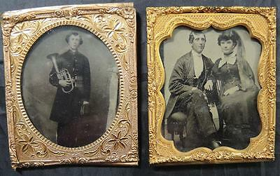 Two Civil War Era Tintypes * Man Holding French Horn * Same Man With Wife