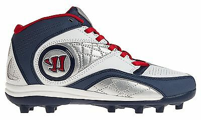 Warrior Youth Kids Wht/Navy/Rd Vex 2.0 Mid Lacrosse Cleats - Rabil Edition - NEW