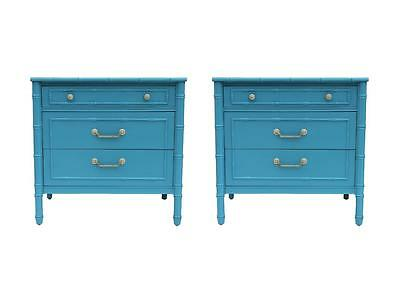 Pr Faux Bamboo Turquoise Hollywood Regency Chest Dressers Thomasville Henry Link