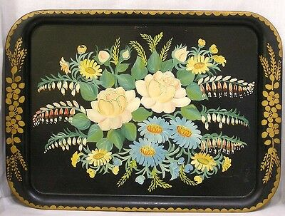 Vintage HP Decorative Tole Tin Tray Floral and Gold Dated 1962