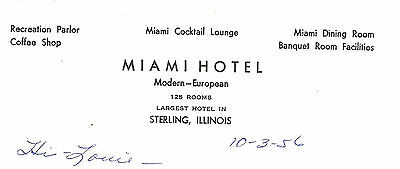 Sterling Illinois Whiteside County Miami Hotel Stationery Letter, 1956