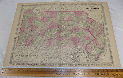 1864 Antique Johnson's HAND-COLOR MAP//PENNSYLVANIA, NEW JERSEY//18x26""