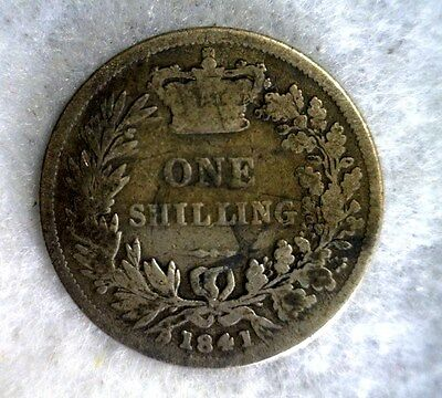 GREAT BRITAIN SHILLING 1841 SILVER COIN (stock# 0102)