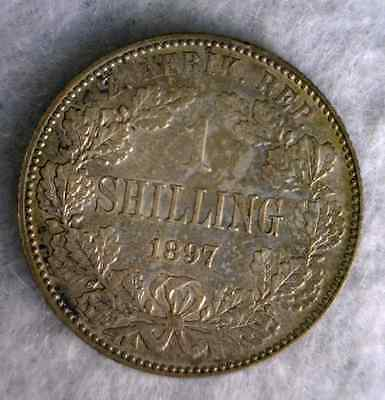 SOUTH AFRICA 1 SHILLING 1897 ABOUT UNCIRCULATE SILVER BRITISH COIN (Stock# 0901)