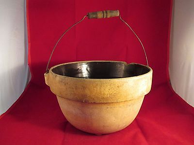 """Antique Crock Ware 11"""" Bowl With Bail Handle Chipped Stoneware"""