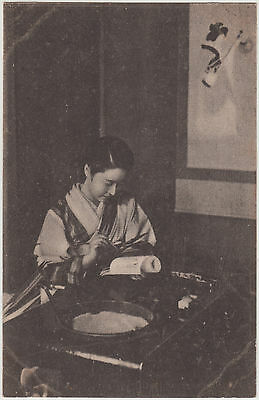 Antique Postcard / Young Woman Writing / Japanese / c. 1920s