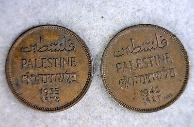 PALESTINE 1 MIL 1935 & 1942  BOTH COINS  XF (stock# 0050)