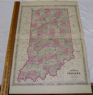 """1864 Antique Johnson's HAND-COLOR MAP // INDIANA // 18x26"""""""