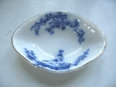 Antique Flow Blue Dish Bowl Ideal Trade Mark Blue & White Floral Bowl