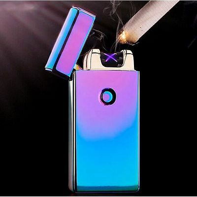Purple Double Arc Light USB Electronic Rechargeable Battery Cigarette Lighter RN