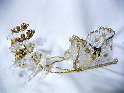 """Reindeer Sleigh Acrylic 3pc Chains Clear Gold Tone Accents Christmas Holiday 12"""""""