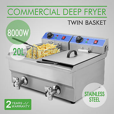 20L Commercial Restaurant Deep Fryer Stainless Steel Dual Tank Free Shipping