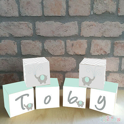 Personalised Wooden Name Blocks PRICE PER BLOCK/LETTER Elephant Mint Grey