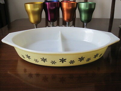 Vintage Retro Jaj Pyrex Yellow Snowflake Double Sectioned Oval Baking Dish