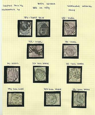 A Set of Average used 1883/4 Lilac & Green Issues.
