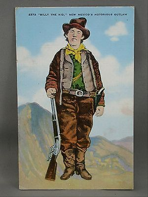 Billy The Kid New Mexico's Notorious Outlaw W Rifle & Six Gun Revolver Postcard