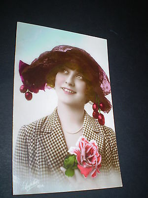1920's deco glamour hand tinted flapper girl cherry hat rp photo postcard 1