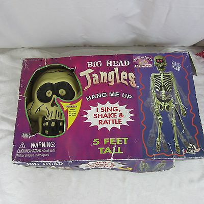 """Vtg Big Head Jangles 5"""" Tall Skeleton Sound & Touch Activated Sing Shake Rattle"""