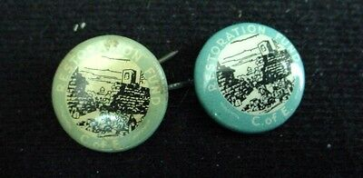 2 Vintage Celluloid Covered Tin Pin RESTORATION FUND C. of E. Church of England