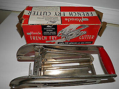 Vintage Ekco Miracle Stainless Steel French Fry Cutter - In Box