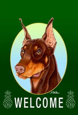 Garden Indoor/Outdoor Welcome Flag (Green) - Red Doberman Pinscher 740661