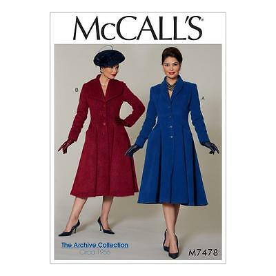 McCALL'S SEWING PATTERN MISSES' ARCHIVE COLLECTION CIRA 1956 COATS 6 - 22 M7478