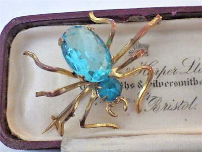 Vintage Jewelllery Mizpah Insect Spider Brooch Pin Aquamarine Glass Art Deco