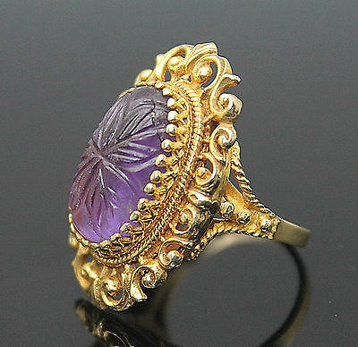 Fabulous Vintage Carved Genuine Amethyst Solid 14K Yellow Gold Ring Size 7