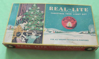 Vintage Real Lite C6 light set box and string working cone lights
