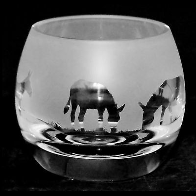 *DONKEY GIFT* Boxed CRYSTAL GLASS TEA LIGHT CANDLE HOLDER