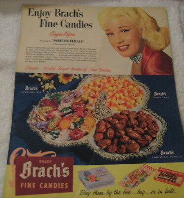 VTG 1953 GINGER ROGERS Movie Star  BRACH'S CANDY Orig AD 4 Products Pictured