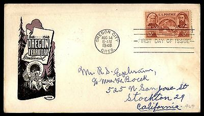 Or 1948 Oregon Territory Centennial Ioor Cachet On Fdc