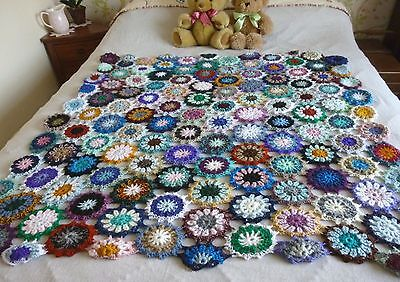 New Hand Made Vintage Inspired Crochet Flower Granny Blanket Double Bed Throw
